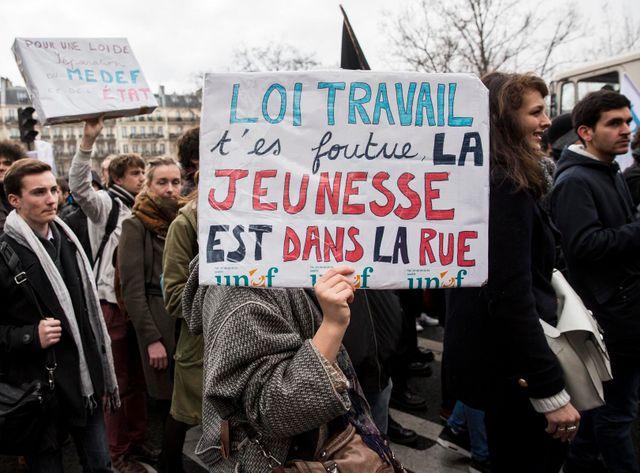 Manifestation de jeunes contre la loi travail