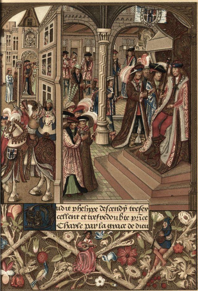 Charles le Téméraire duc de Bourgogne sur son trône entouré de ses barons et conseillers - Chroniques abrégées de Bourgogne