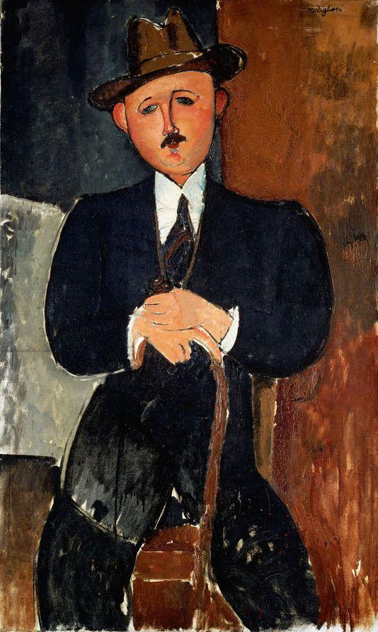 Homme assis (appuyé sur une canne), Modigliani, 1918