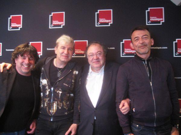 Pierre Charvet, Jean-Yves Thibaudet, Frédéric Lodéon et Marc Voinchet, France Musique, Carrefour de Lodéon le 18 avril 2016 © DR