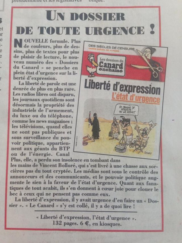 Les dossiers du Canard Enchainé : Liberté de la presse, l'état d'urgence