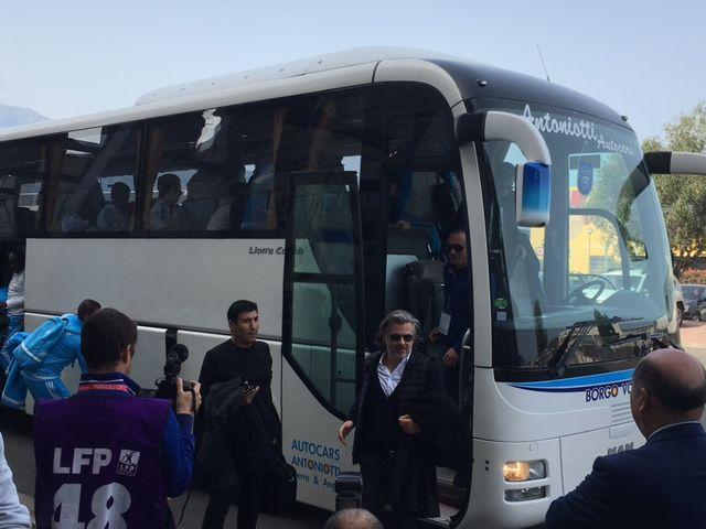 Vincent Labrune à son arrivée au stade, à Bastia