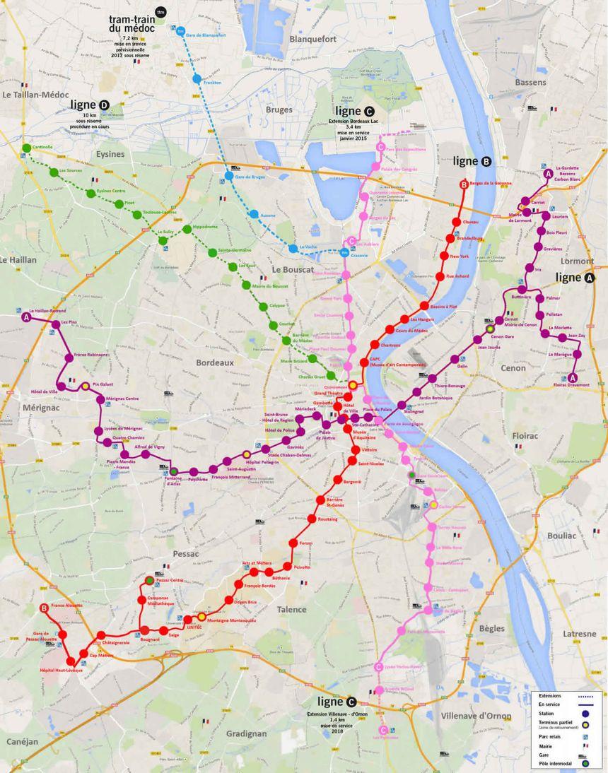 Le plan du tramway à l'issue des extensions déjà engagées.