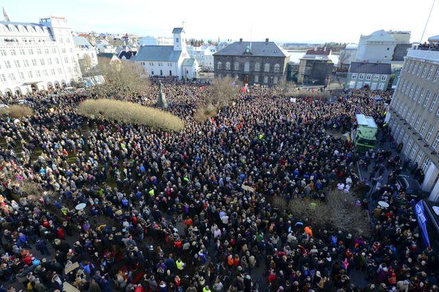 Manifestation le 6 avril 2016 a Reykjavik, Islande
