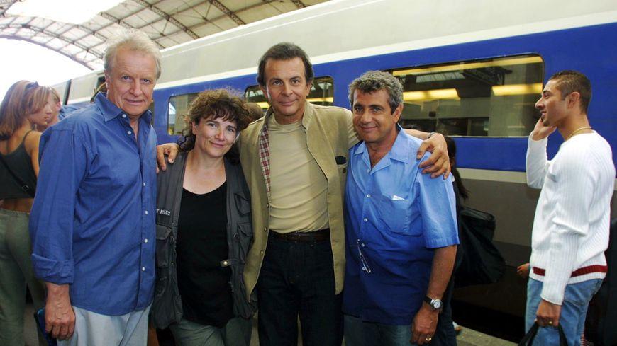 Acteurs et réalisatrice pour 3 Hommes et un couffin © Maxppp
