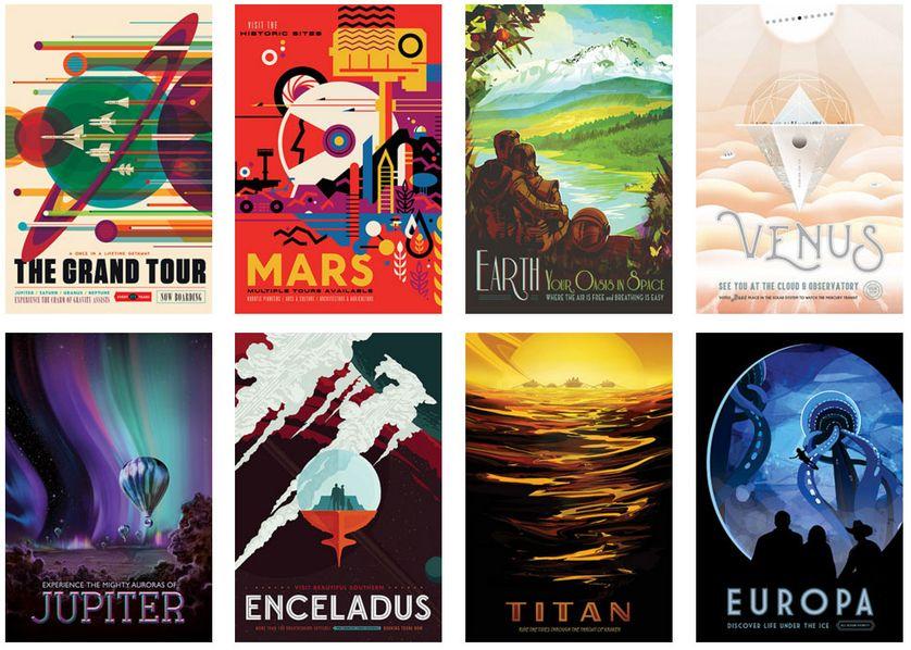 Les affiches du Jet Propulsion Laboratory de la NASA.