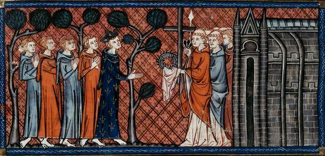Louis IX recevant les Saintes Reliques - Chroniques de Saint-Denis - XIVème siècle