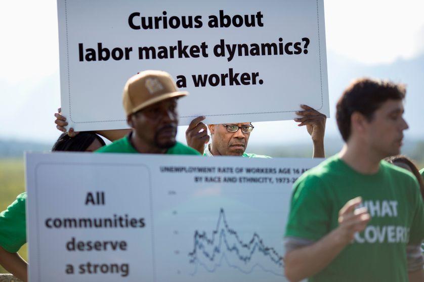 Manifestation à Jackson Hole pendant le symposium des banquiers centraux