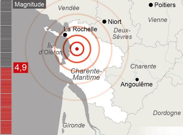 Le seisme ressenti en Charente Maritimes est désormais évalué à 4.9 de magnitude