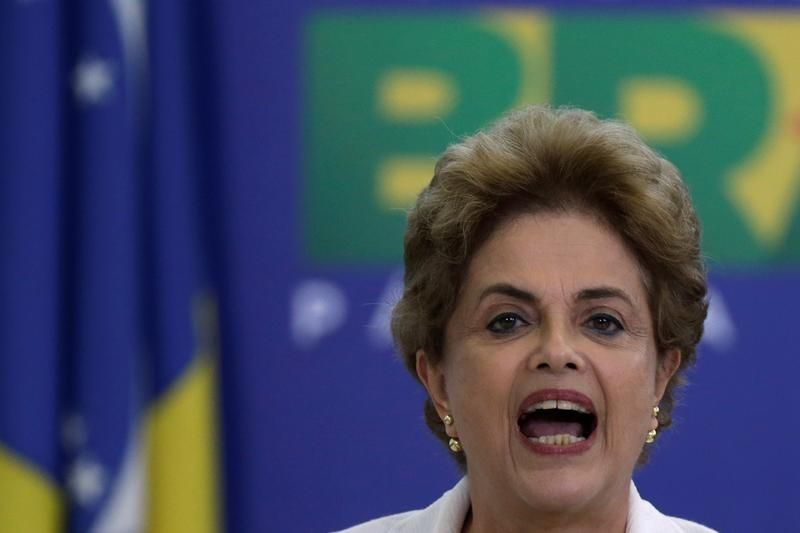Dilma Rousseff lors d'un meeting à Brasilia le mardi 12 avril