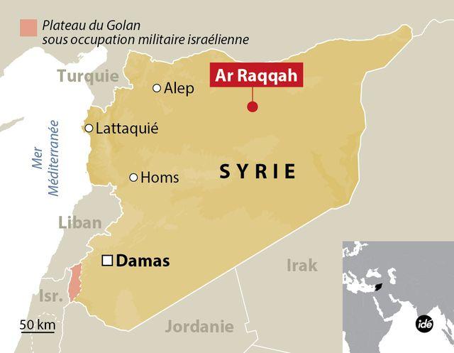 Raqqa en Syrie, carte