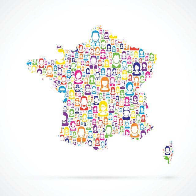 Carte de France avec personnes
