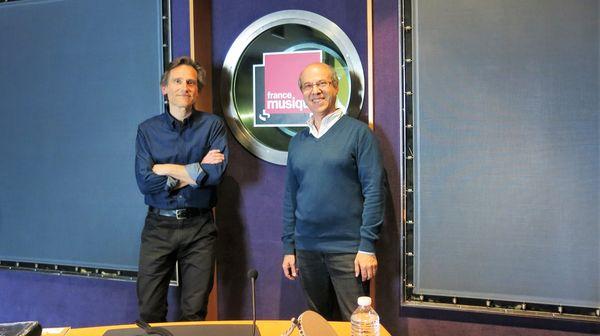 France Musique, studio 142... Philippe Venturini & Claude Abromont (de g. à d.) ©Annick Haumier-Radio France