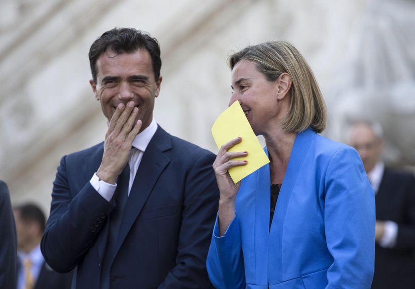 Sandro Gozi et Federica Mogherini, cérémonie pour le Europe Day, Rome, 9mai 2016