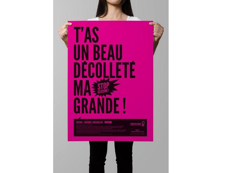 Affiche d'une campagne à la mairie de Strasbourg contre le harcèlement sexuel