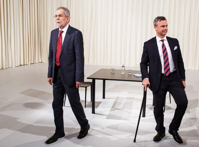 En Autriche, les deux candidats à la présidentielle au coude à coude.