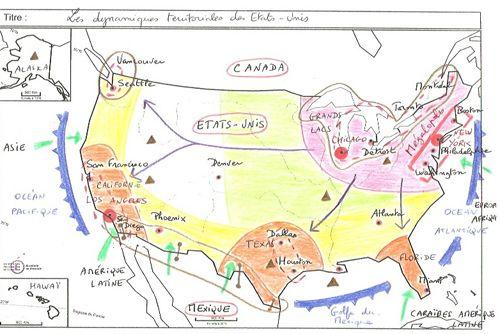 Dynamiques territoriales des Etats-Unis, croquis d'élèves