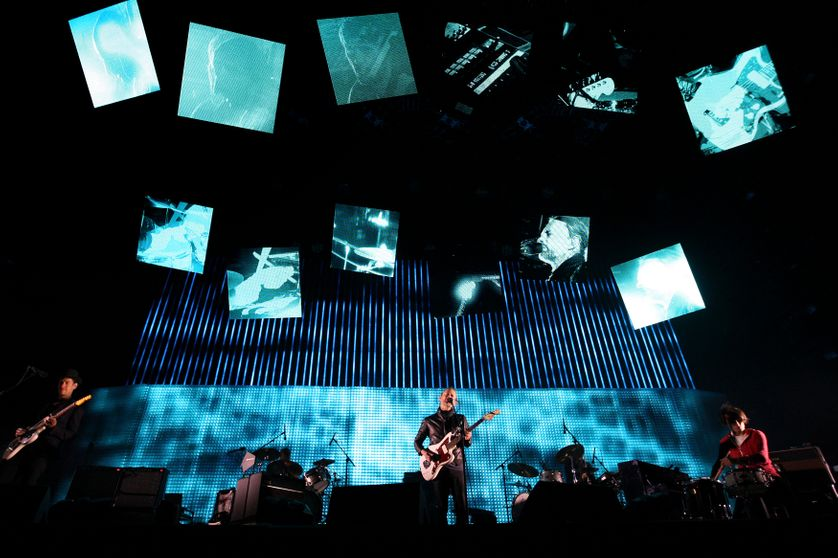 Radiohead lors d'un concert en Californie en 2012
