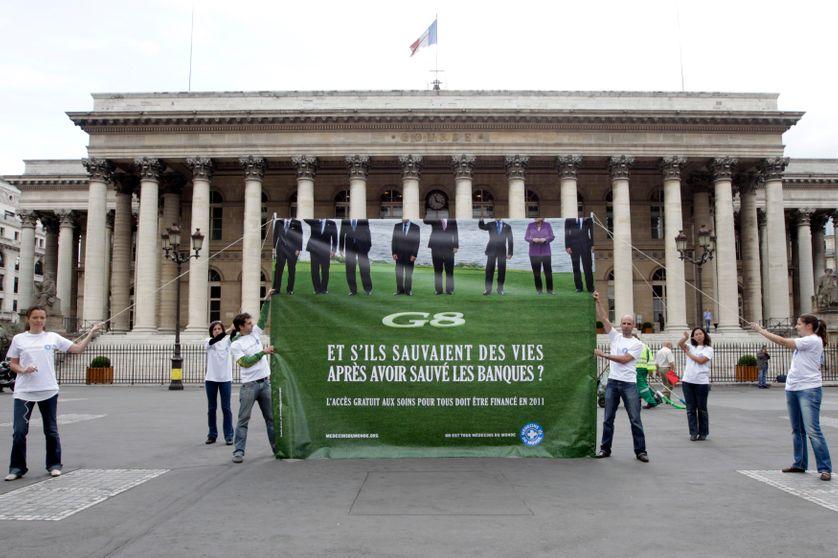 """Manifestation de l'ONG """"Médecins du Monde"""", lors d'un précédent sommet à Paris"""