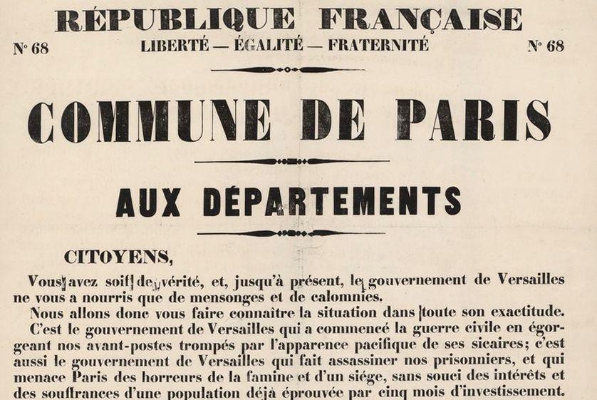 La Commune de Paris, aux départements