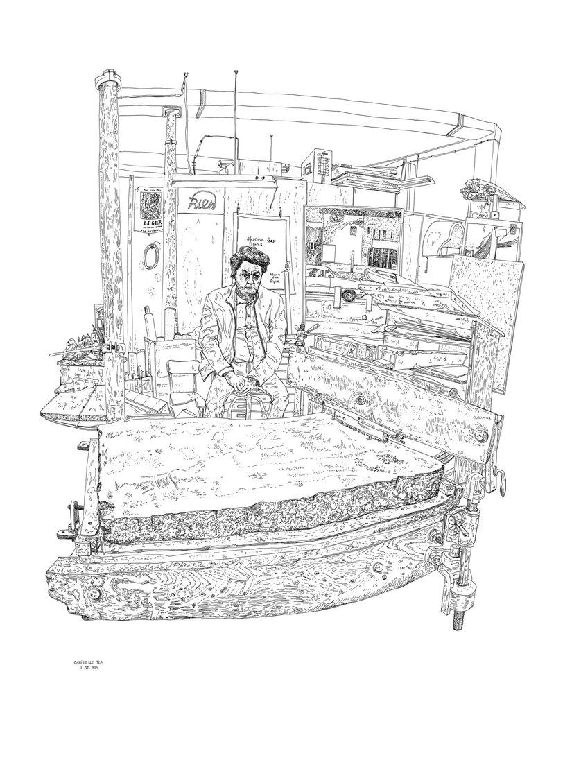 Christelle Téa,Portrait de Jean-Michel Alberola,Encre de Chine sur papier 65x50