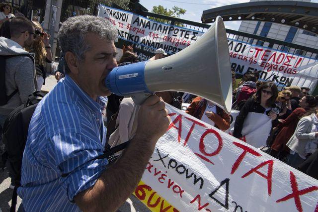 A Athènes, une manifestation devant le ministère de l'Education
