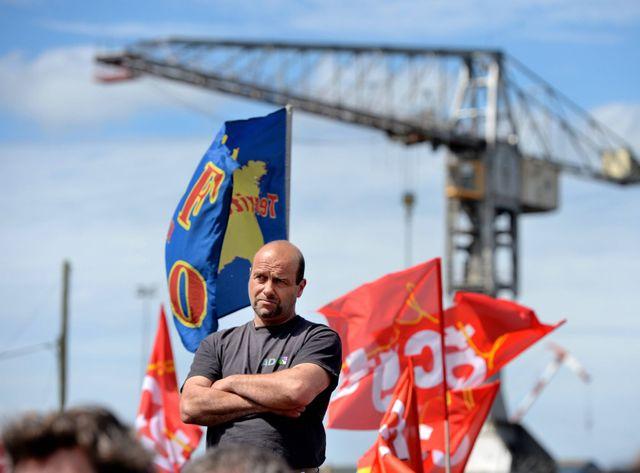 Manifestation intersyndicale sur le port de St-Nazaire le 19 mai 2016