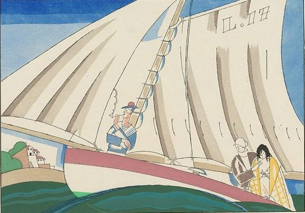 Charles Martin : Yachting, illustration pour Sports & divertisements de Satie /Houghton Typ 915.14.7700, Houghton Library, Harvard University