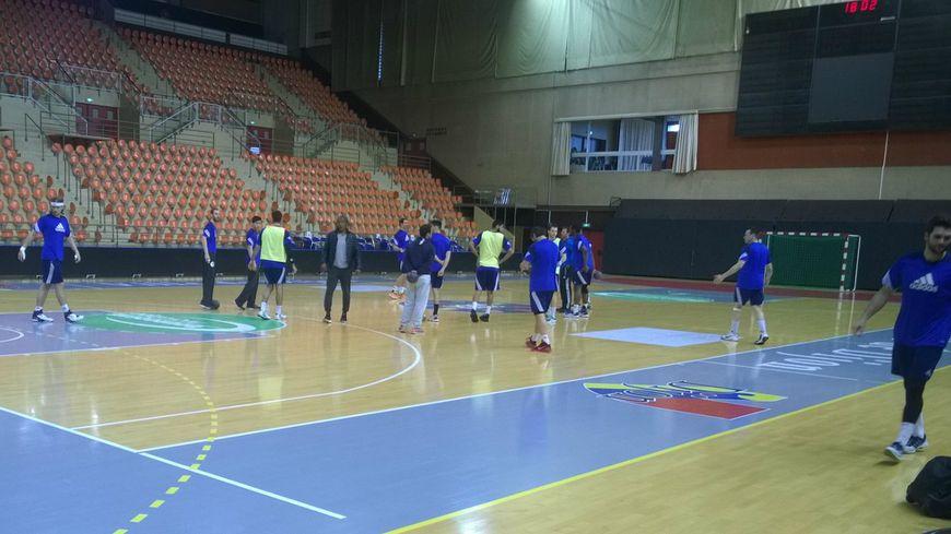 Les joueurs à l'entrainement à la veille de la rencontre.