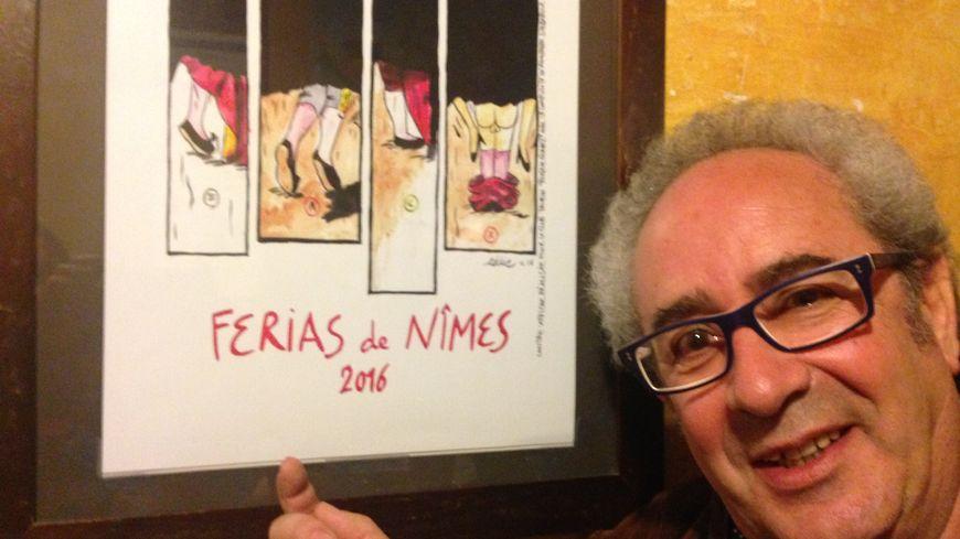 Le dessinateur Eddie Pons et sa contre-affiche