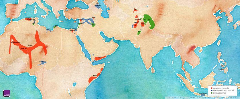 Carte de localisation des djihadismes armés et allégeances à Al Qaïda ou à l'EI