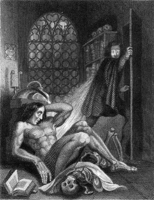 légende : frontispice à l'édition de 1831 de Frankenstein :