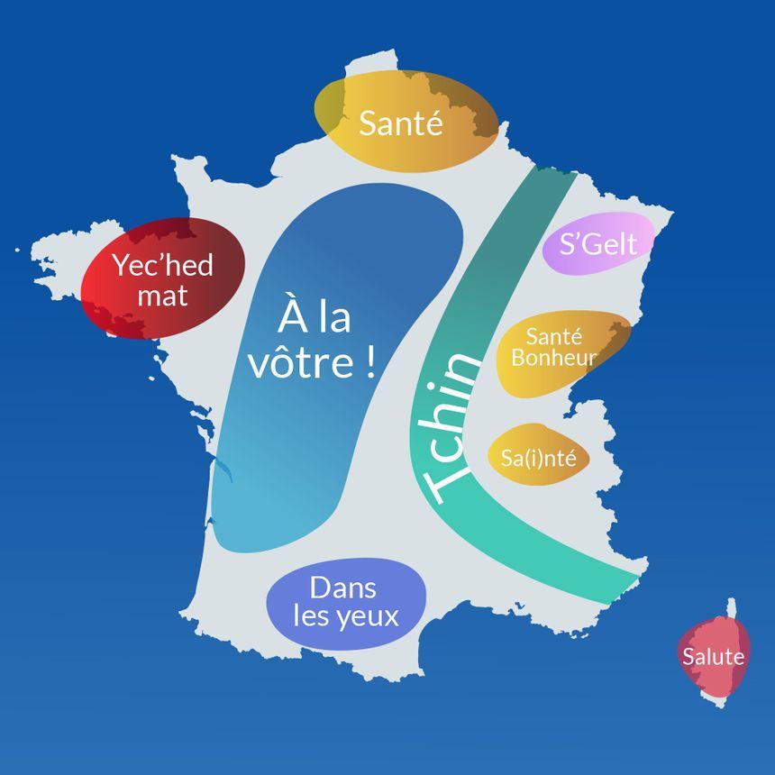 La carte de France de l'apéro : ce que vous dites pour trinquer.