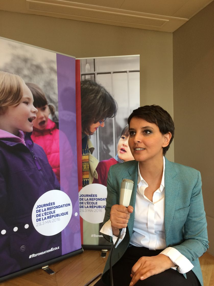 Najat Vallaud Belkacem au micro de Rue des écoles