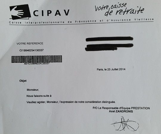 Lettre de la CIPAV