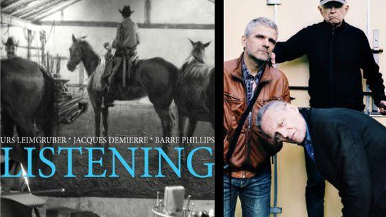 Photo - montage couv Listenning de Urs Leimgruber, Jacques Demierre, Barre Phillips MEA 603*380