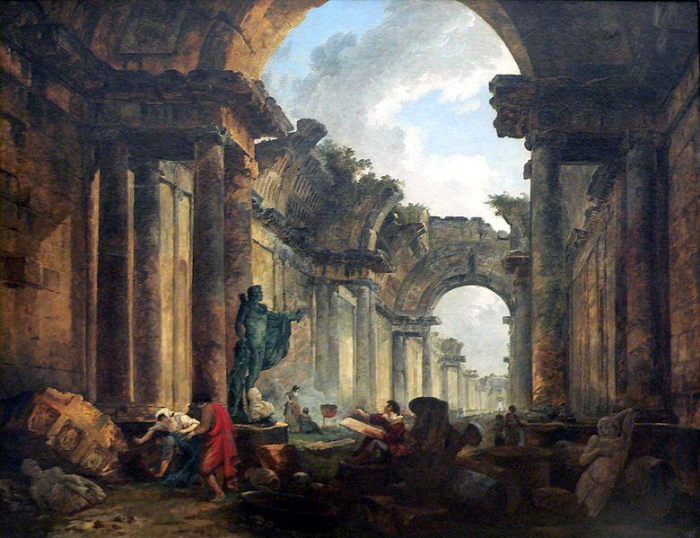 Vue imaginaire de la Grande Galerie du Louvre en ruines (1796)