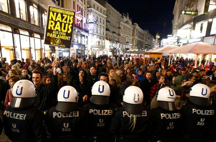 Une manifestation contre le parti FPÖ à Vienne, en 2013