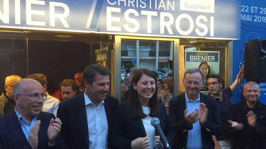 Marine Brunier et Christian Estrosi lors de l'annonce des résultats.