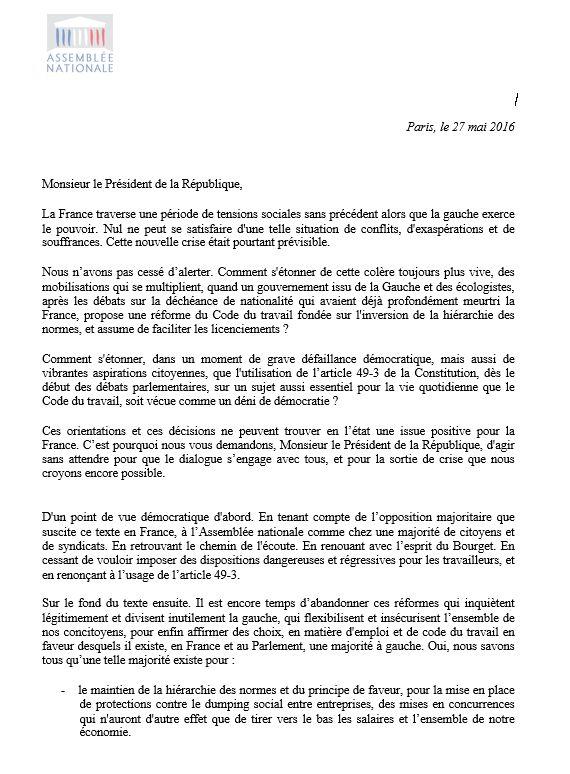La lettre envoyée par les députés de gauche et écologistes