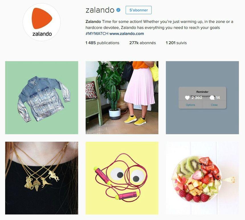 Catpure d'écran du compte instagram de Zalando, site de vente en ligne