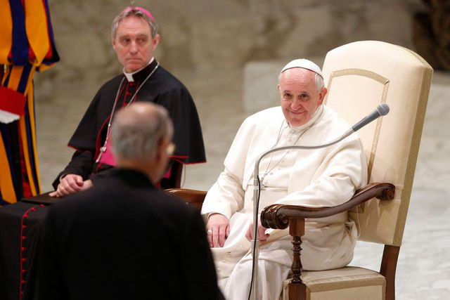 pope francis looks at superior general of the society of jesus adolfo nicolas during a special audience at the paul vi' hall at the vatican