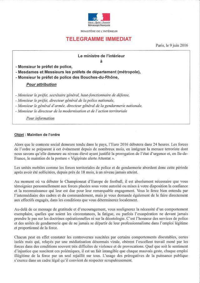 Lettre de Bernard Cazeneuve aux préfets