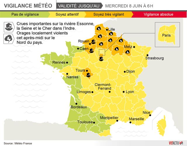 ►►►INFOGRAPHIE : Crues, orages : 12 départements en vigilance orange
