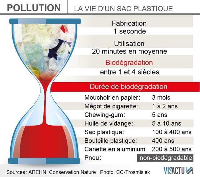 Un sac plastique peut mettre 4 siècles avant de disparaitre dans la nature