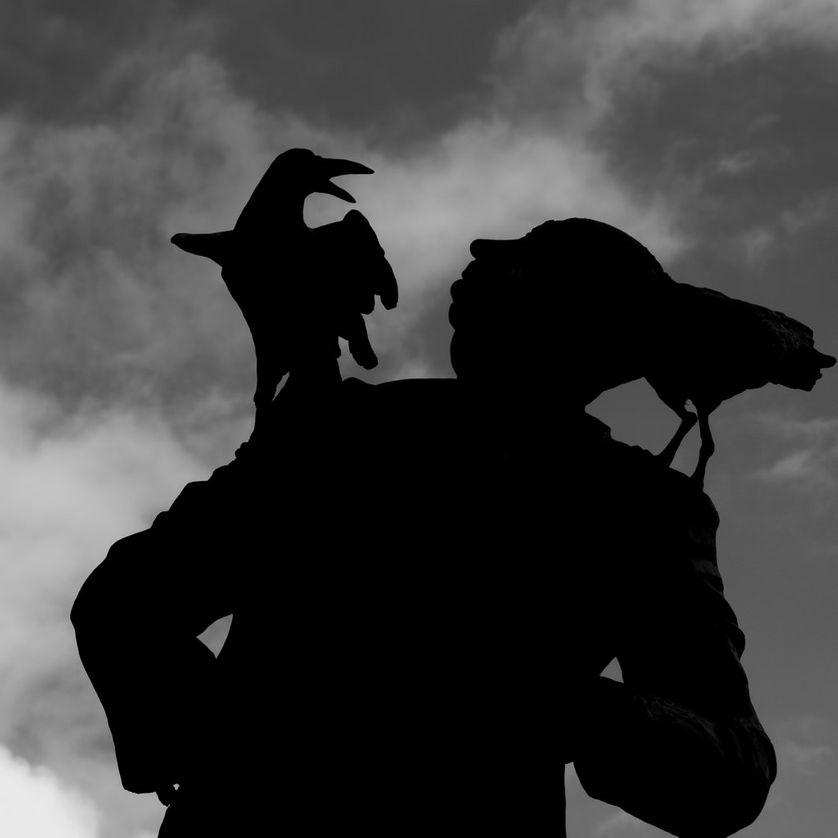 Statue d'Alfred Hitchcock et ses oiseaux à Dinard