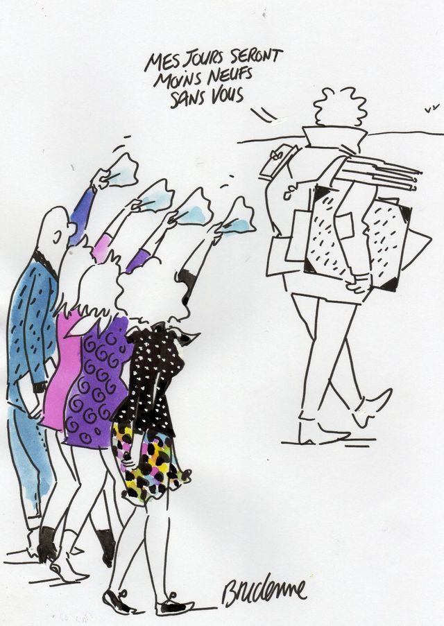 Bridenne est parti en voyage, en Amérique du Sud, pour une exposition de ses dessins. Il vous a laissé ce dessin en guise de mot d'excuse ! On le retrouve dans une semaine....