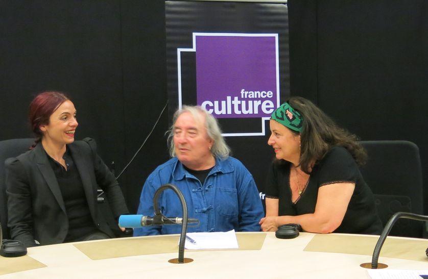 France Culture, studio 108... Chiara Mulas, Serge Pey & Aline Pailler (g. à d.)