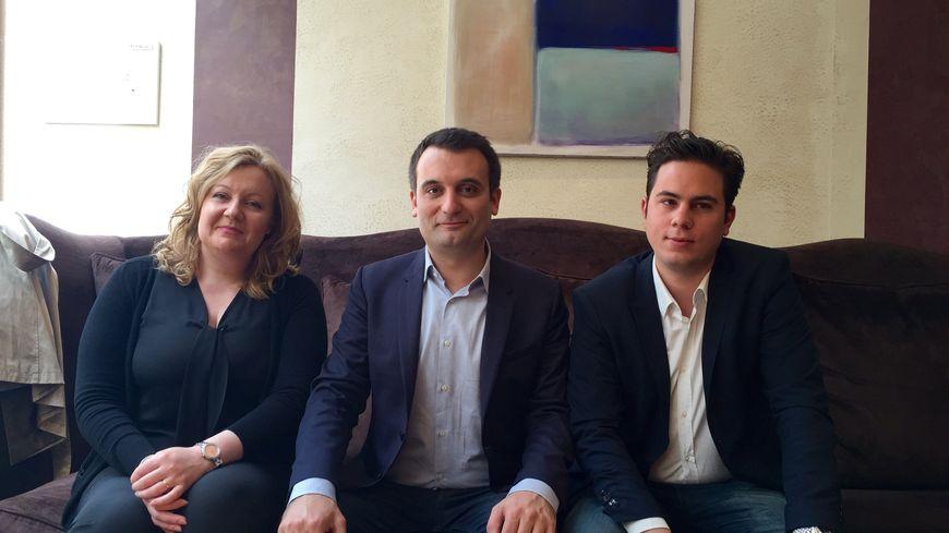 Florian Philippot entouré de Sophie Montel et Edouard Cavin