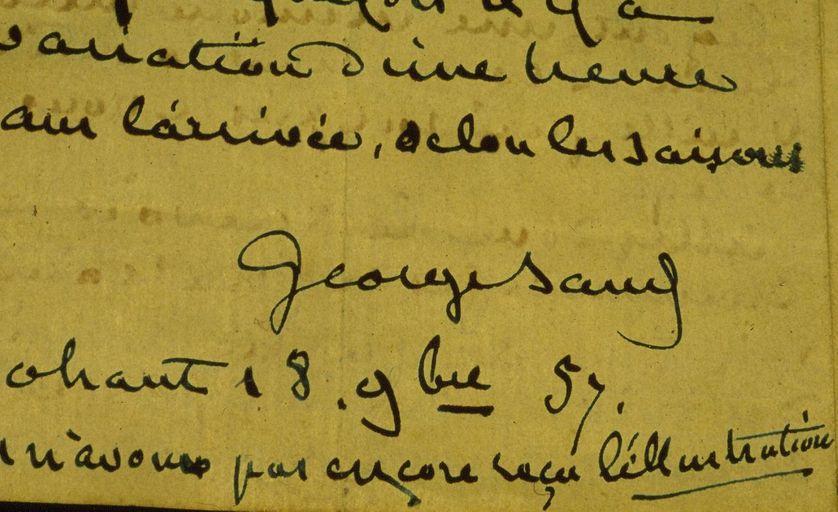 Signature de George Sand le 18 novembre 1857 à Nohant